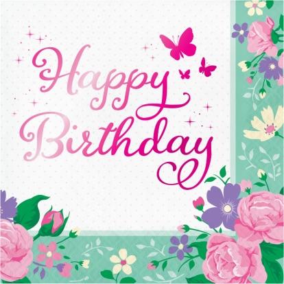 """Servetėlės """"Gėlių fėja. Su gimimo diena"""" (16 vnt.)"""
