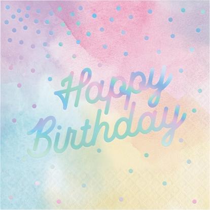 """Servetėlės """"Happy birthday"""", pastelinės-perlamutrinės (16 vnt.)"""