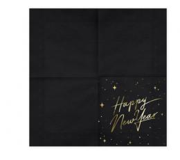 "Servetėlės ""Happy New Year"", juodos (20 vnt.) 1"