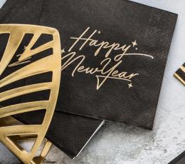 """Servetėlės. """"Happy New Year"""". juodos su aukso užrašu (20 vnt.) 1"""