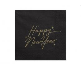 """Servetėlės. """"Happy New Year"""". juodos su aukso užrašu (20 vnt.)"""