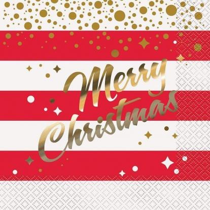 """Servetėlės """"Merry Christmas"""", raudonai auksinės (16 vnt.)"""