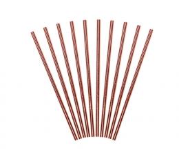 Šiaudeliai. rožinio aukso spalvos (10 vnt.)