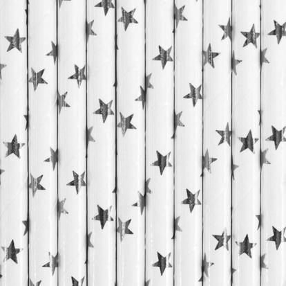 """Šiaudeliai """"Sidabrinės žvaigždutės"""" (10 vnt.)"""