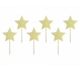 """Smeigtukai-dekoracijos """"Auksinės žvaigždutės"""" (6 vnt.)"""