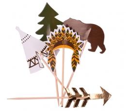"""Smeigtukai-dekoracijos """"Indėnų stovykla"""" (20 vnt./12 cm) 1"""