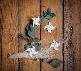 """Smeigtukai-dekoracijos iš lino """"Vėjo malūnėliai"""" (4 vnt./4 cm) 1"""
