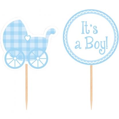 """Smeigtukai-dekoracijos """"It's a Boy"""" (12 vnt.)"""