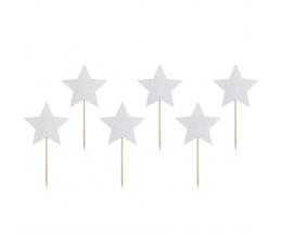"""Smeigtukai-dekoracijos """"Sidabrinės žvaigždutės"""" (6 vnt.)"""