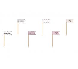 Smeigtukai - vėliavėlės, rausvai - juodi (6 vnt.)