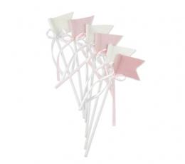 Smeigtukai-vėliavėlės su kaspinėliu, medžiaginės rausvos (6 vnt./20 cm) 1