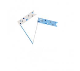 Smeigtukai-vėliavėlės, žydros pilkos (6 vnt.)