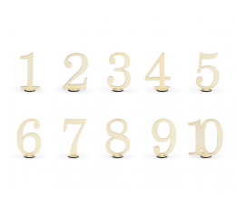 Stalo numeriai, mediniai (10 vnt./10,5 cm)