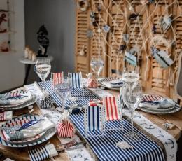 Stalo takelis, mėlynai-baltai dryžuotas (28 cmx5 m) 1