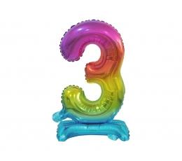 """Stovintis balionas-skaičius """"3"""", įvairiaspalvis (38 cm)"""