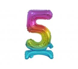"""Stovintis balionas-skaičius """"5"""", įvairiaspalvis (38 cm)"""