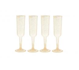 Taurės šampanui, auksinės blizgios (4 vnt.)