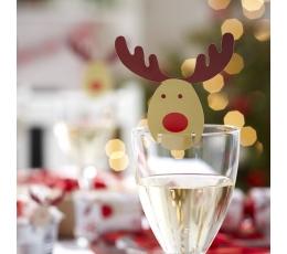 """Taurių dekoracijos """"Kalėdų elniai"""" (10 vnt.)"""