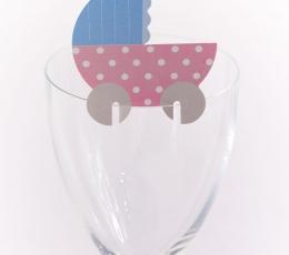 """Taurių dekoracijos """"Kūdikio vežimėlis"""" (10 vnt.) 1"""