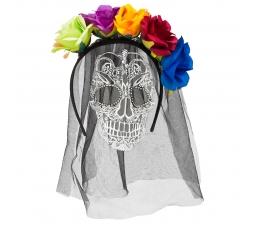 Tiara su kaukolės šydu ir spalvotomis gėlėmis