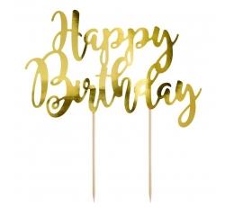 """Torto dekoracija """"Happy Birthday"""", auksinė"""