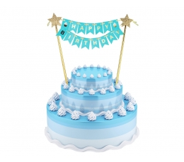 "Torto dekoracija ""Happy birthday"", melsva-auksinė (25 cm)"