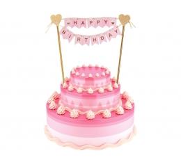 """Torto dekoracija """"Happy birthday"""", rausva-auksinė (25 cm)"""