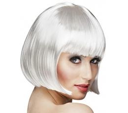 Trumpų plaukų perukas, baltas