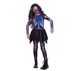 "Tvarus kostiumas mergaitei ""Neoninis skeletas"" (6-8 m.)"