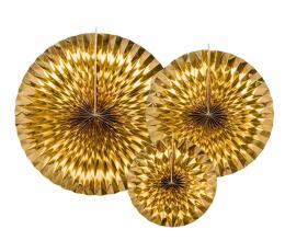 Vėduoklės, auksinės blizgios (3 vnt.)