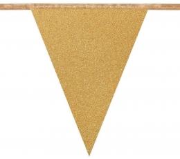 Vėliavėlių girlianda, auksinė blizgi (6 m)