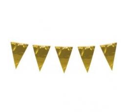 Vėliavėlių girlianda, auksinė folinė (10 m)