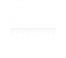 Vėliavėlių girlianda, balta spalvotais taškeliais (2,74 m)