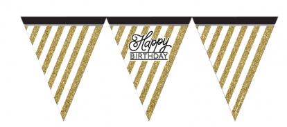 """Vėliavėlių girlianda """"Happy Birthday"""", juodai auksinė (3,7 m)"""