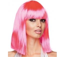 Vidutinio ilgio plaukų perukas, neoninis rožinis