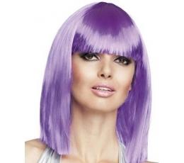 Vidutinio ilgio plaukų perukas, neoninis violetinis