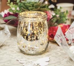 Žvakidė-stiklainis, auksinė (13 cm) 1