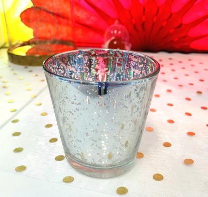 (NUOMA) Žvakidės-stiklinaitės, sidabrinės (2 vnt./7,5 cm)