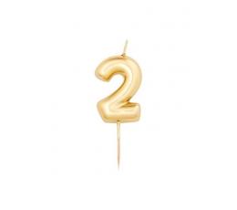 """Žvakutė """"2"""", auksinė (8 cm)"""