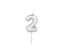 """Žvakutė """"2"""", sidabrinė (8 cm)"""