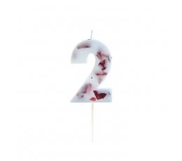 """Žvakutė """"2"""" su įspaustais žiedlapiais"""