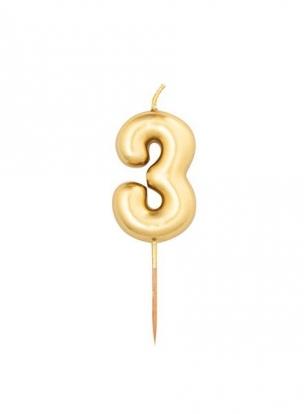 """Žvakutė """"3"""", auksinė (8 cm)"""