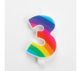 """Žvakutė """"3"""", vaivorykštės spalvų spragsinti"""