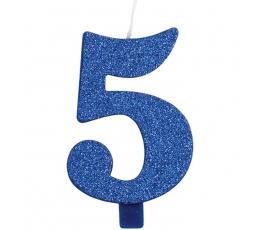 """Žvakutė """"5"""", mėlyna (9,5 cm)"""