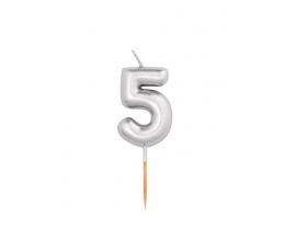 """Žvakutė """"5"""", sidabrinė (8 cm)"""