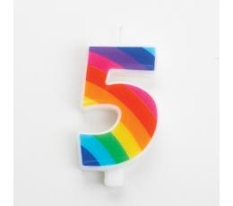 """Žvakutė """"5"""", vaivorykštės spalvų spragsinti"""