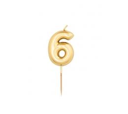 """Žvakutė """"6"""", auksinė (8 cm)"""
