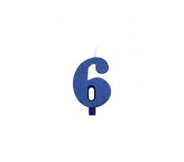 """Žvakutė """"6"""", mėlyna (9,5 cm)"""