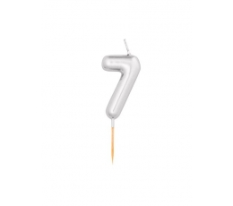 """Žvakutė """"7"""", sidabrinė (8 cm)"""