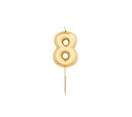 """Žvakutė """"8"""", auksinė (8 cm)"""